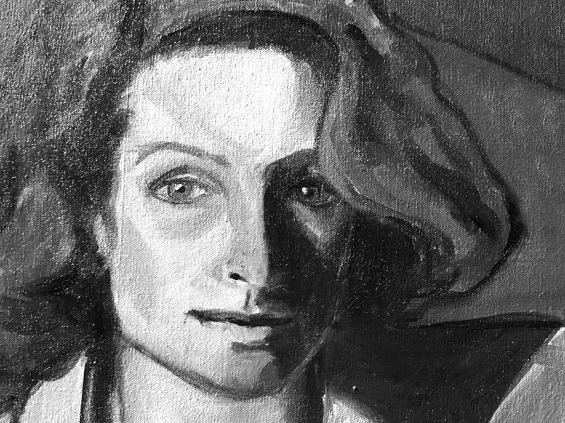 An image of a self portrait sketch by Claudia Weigelsberger
