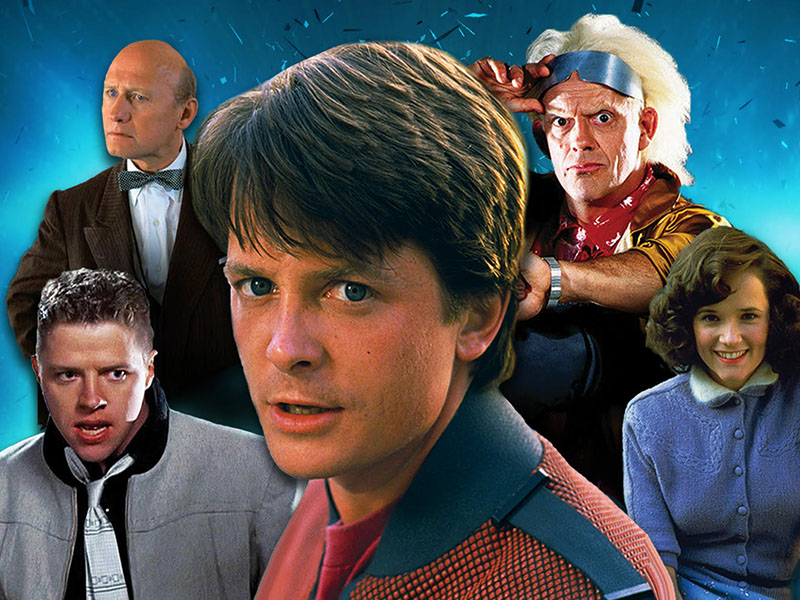 A graphic of characters from Back to the Future played by with Christopher Lloyd, Lea Thompson, James Tolkan, Tom Wilson, and Michael J. Fox