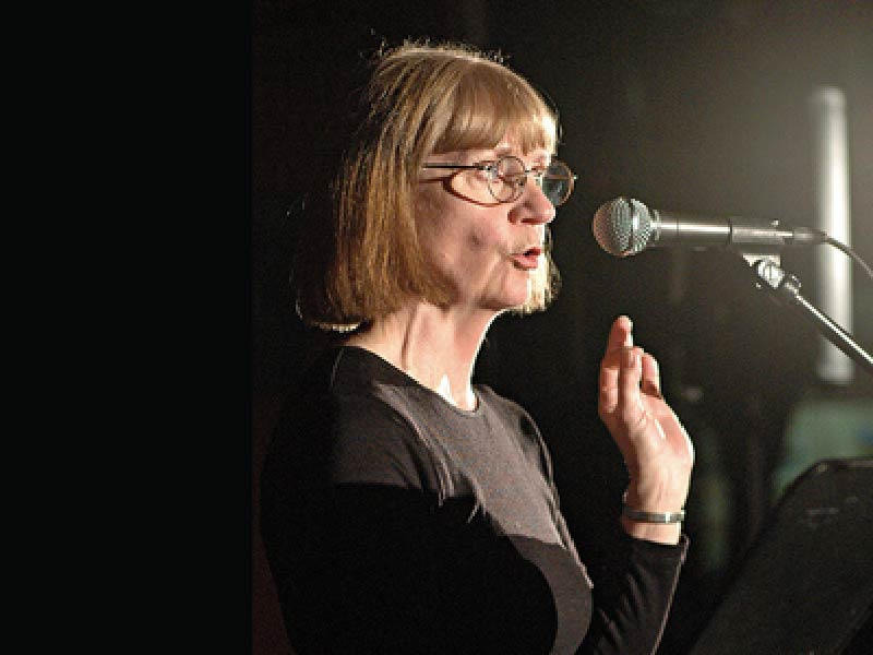 A photo Gisèle Villeneuve at the Calgary International Spoken Word Festival