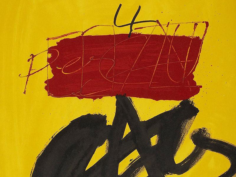 A detail of Antoni Tàpies' Mestres Catalunya