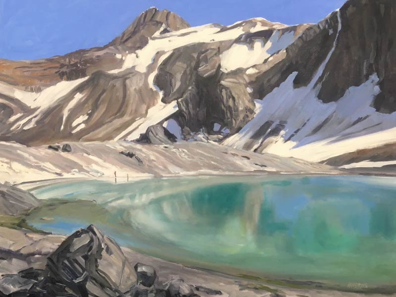 A photo of a painting of a mountain landscape by Janet B. Armstrong