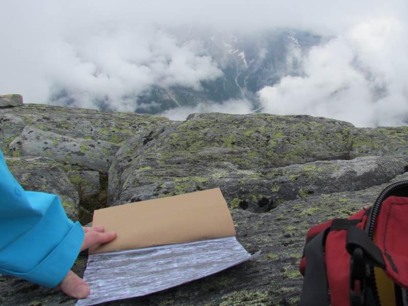 art on mountain summit