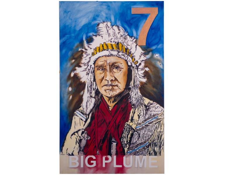 Kim's painting of indigenous man with text big plume