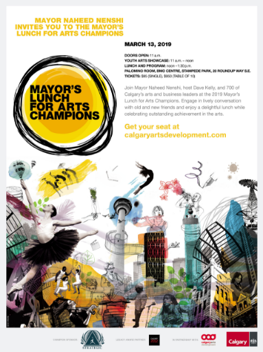Mayor's Lunch for Arts Champions 2019 invitation