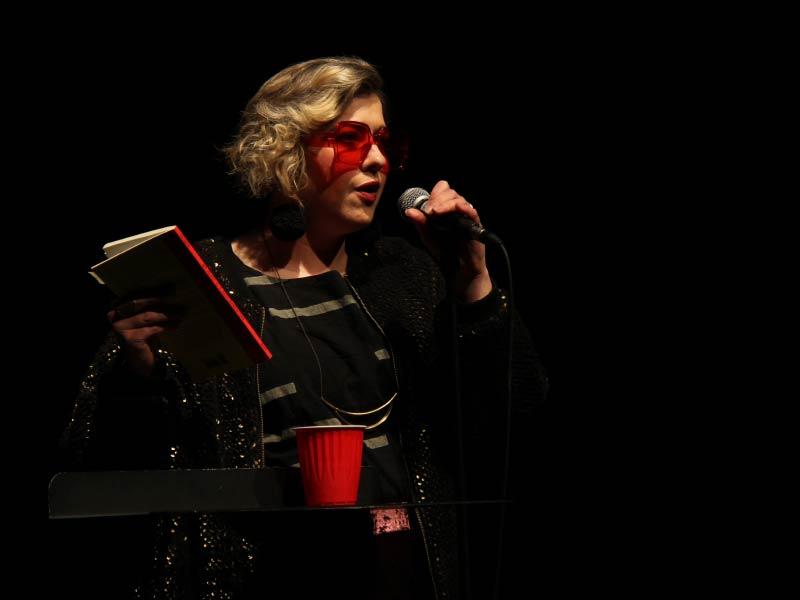 A photo of Nikki Reimer on stage