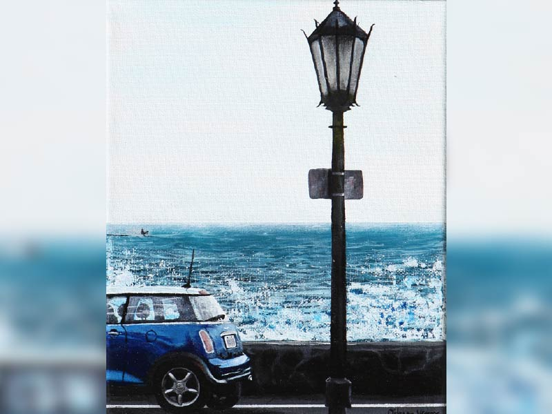 Artwork of lamppost and blue vehicle with ocean background