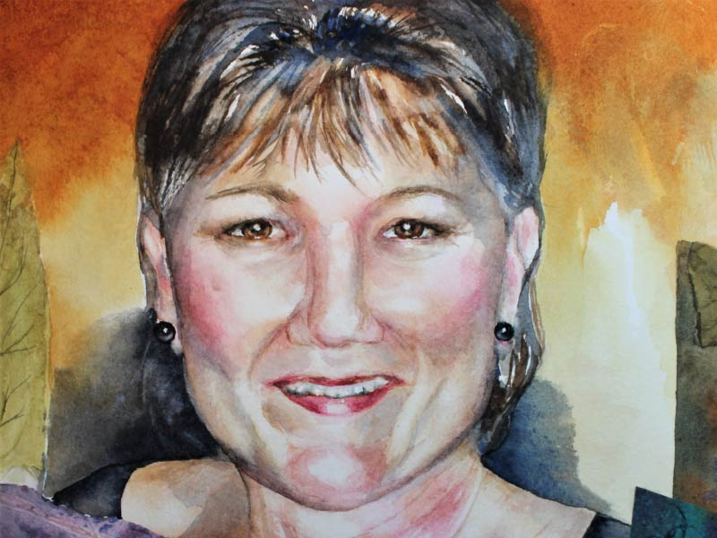 An image of watercolour selfie by Sharon Post