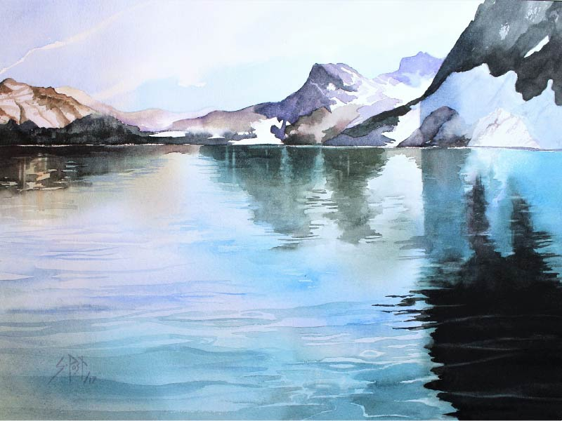 An image of watercolour painting of mountain landscape by Sharon Post
