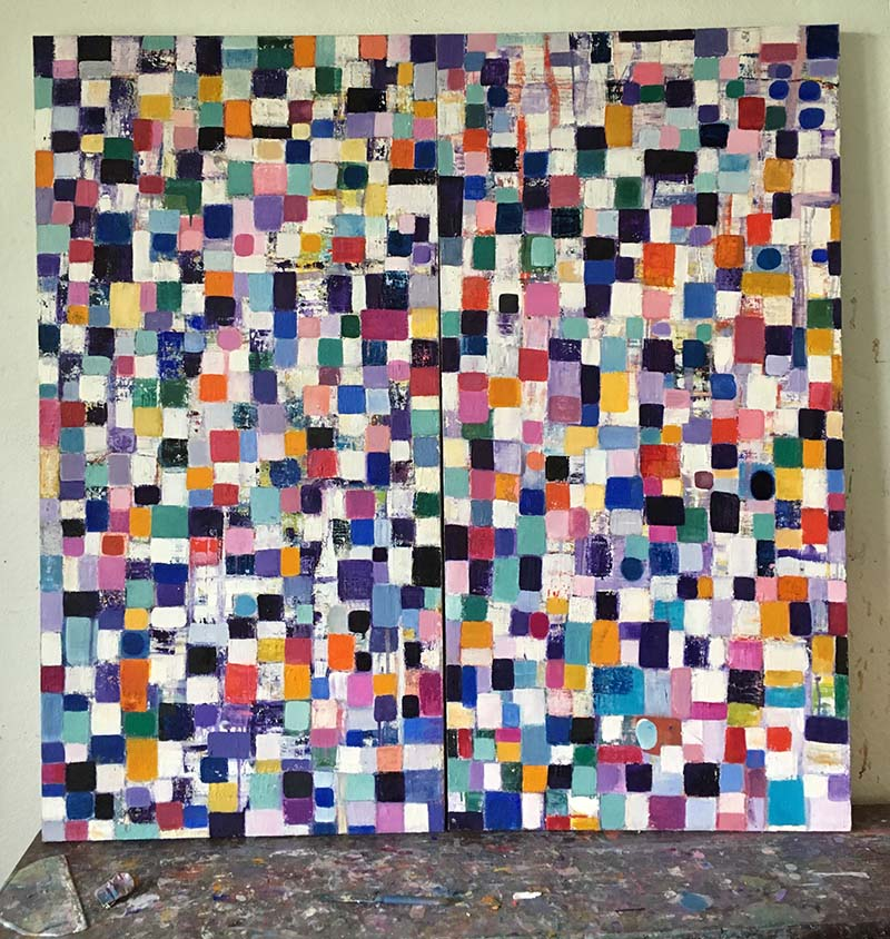 A painting made up of multiple coloured squares