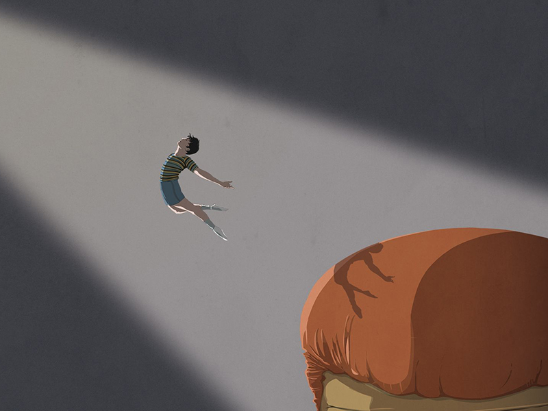 An illustration of a boy dancing with his shadow landing on a boxing glove