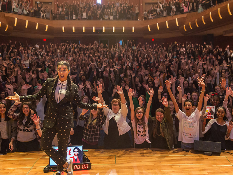 Lilly Singh on the Bella Concert Hall stage