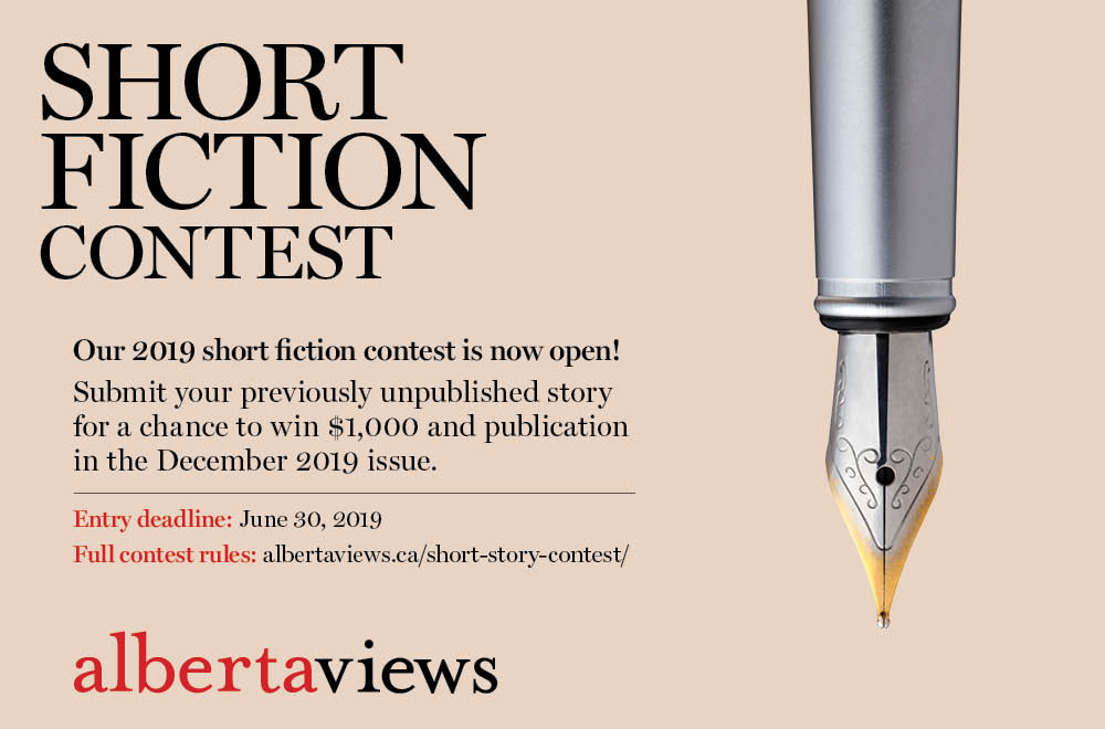 A graphic promoting the Alberta Views Magazine Short Story Contest for 2019
