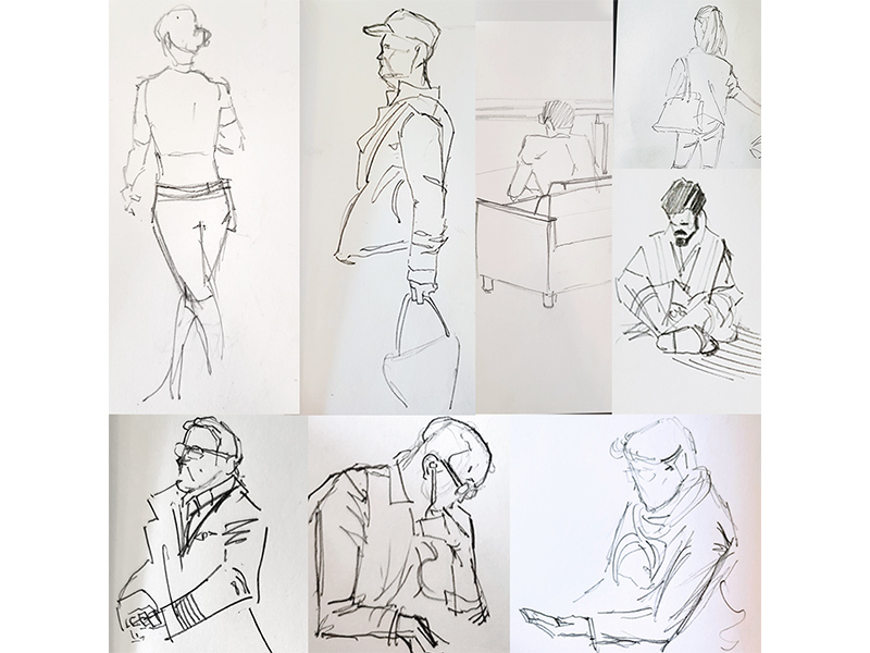 A collage of sketches depicting people in an airport