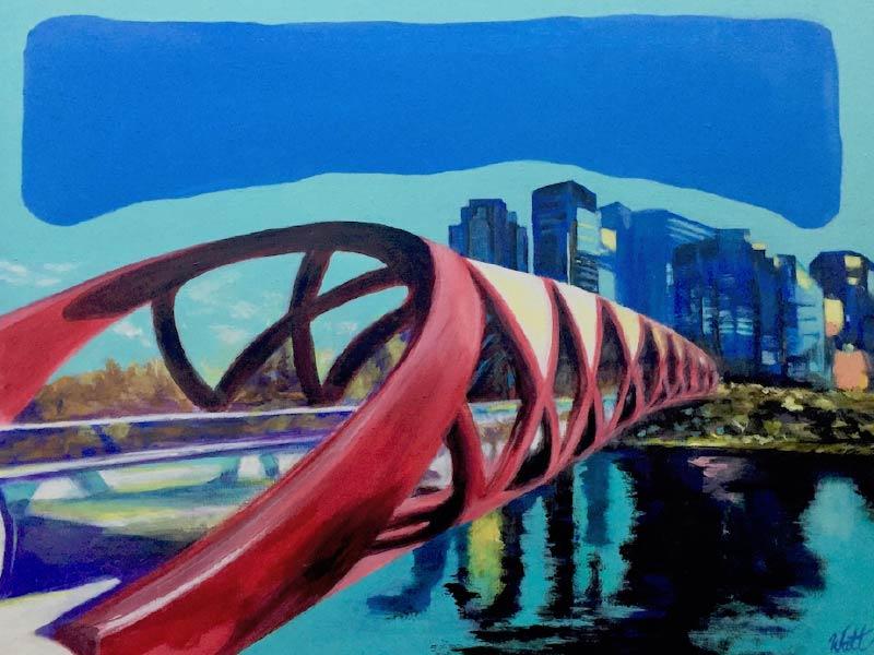 A painting of the Peace Bridge by Tammy Watt
