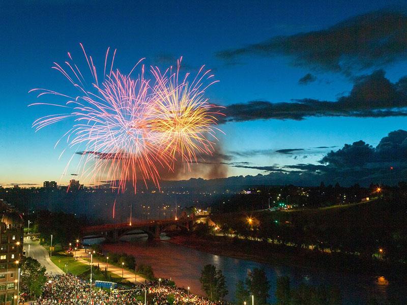 Fireworks off of the Centre Street Bridge