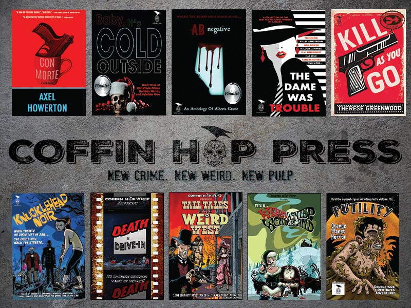 A photo of several book covers from Coffin Hop Press