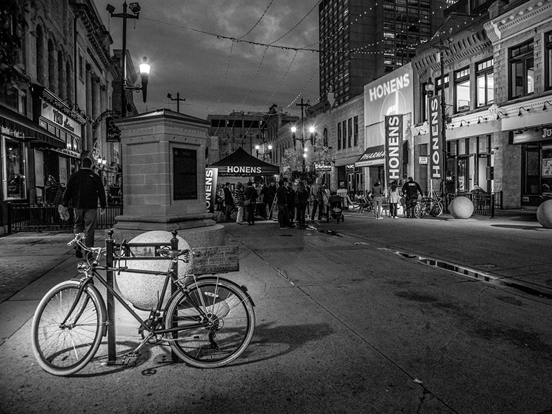 A photo of a bike on Stephen Ave. during the Esther Honens International Piano CompetitionCompetition
