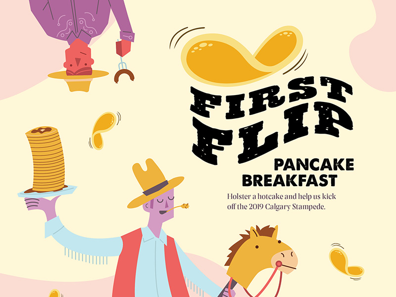 A graphic for the 2019 First Flip Stampede Breakfast