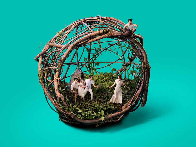 A photo illustration of the cast of A Midsummer Night's Dream miniaturized