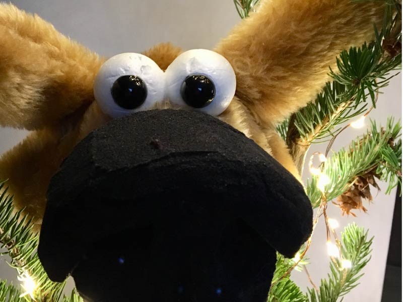 Puppet hanging on Christmas tree