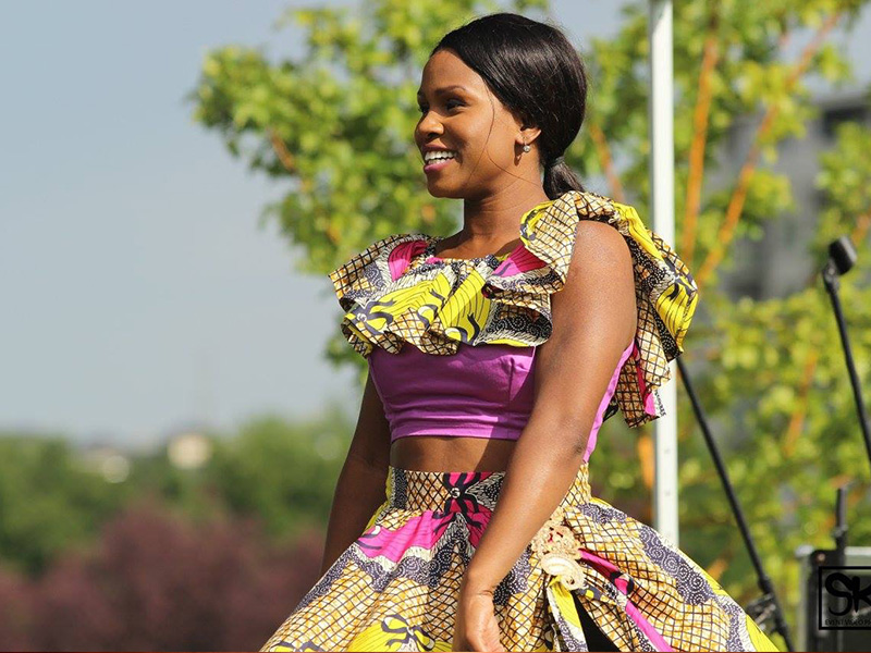 A dancer with Woezo Africa Music & Dance Theatre