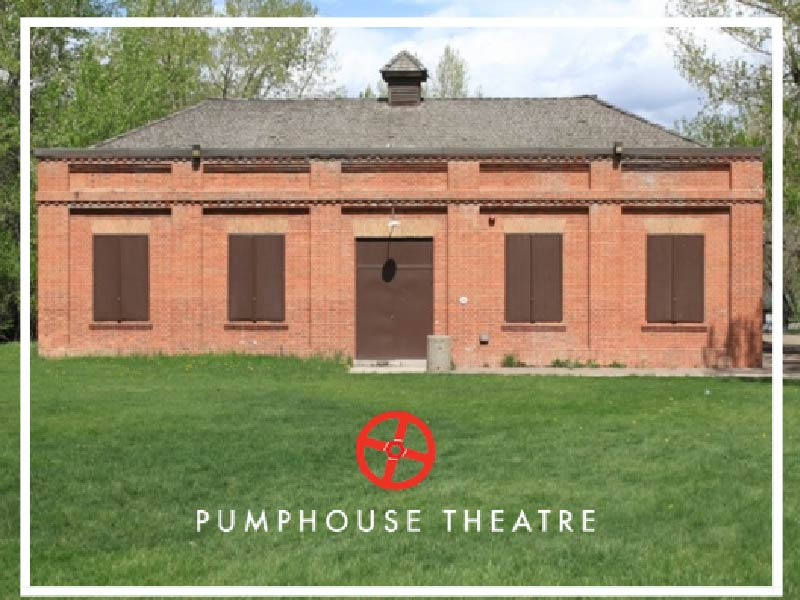 Image of Pumphouse Theatre in Calgary with logo
