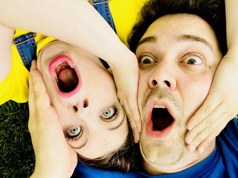 A silly photo of Jeffery Hoffman and Karin Atkinson
