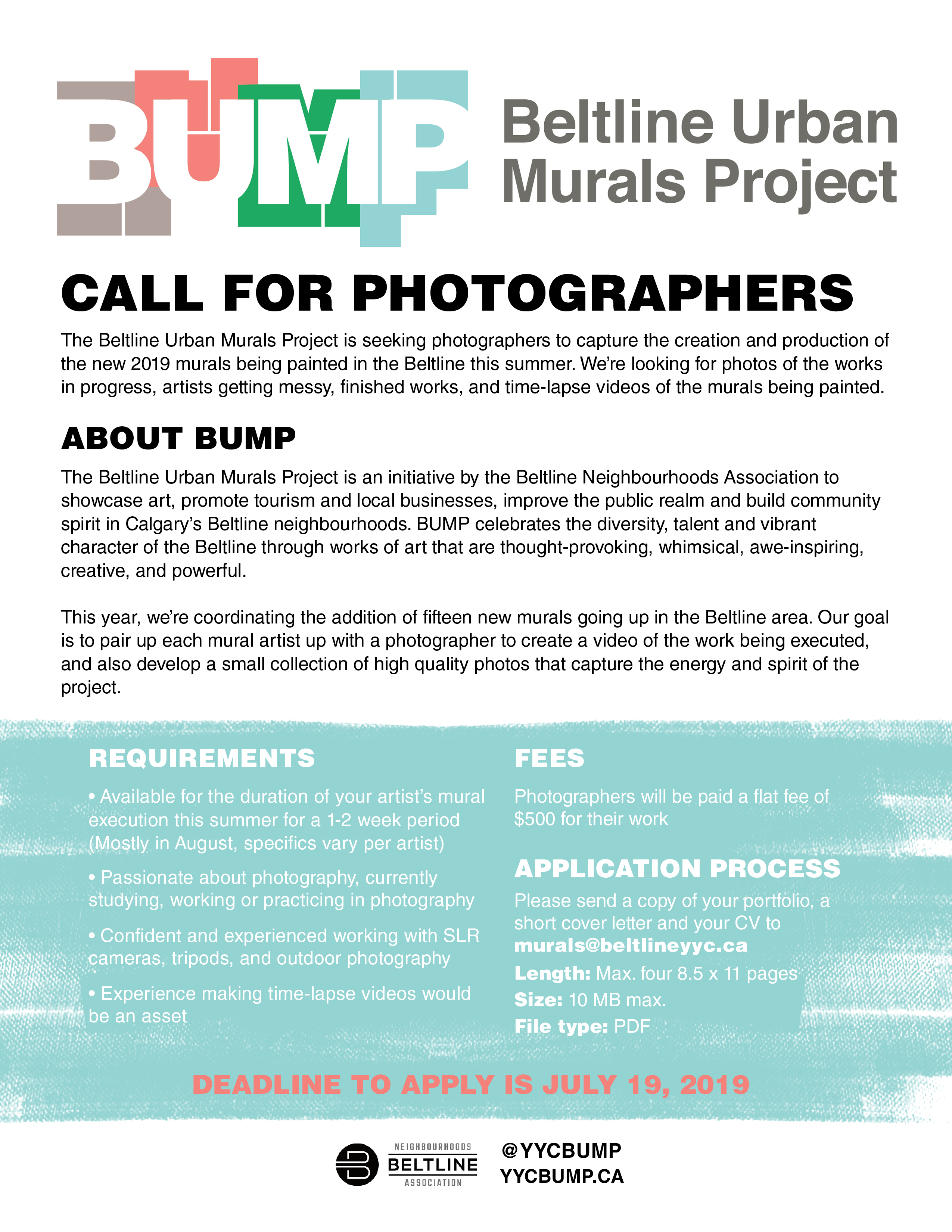Deadline to Apply is July 19, 2019 - Photographers will be paid a flat fee of $500 for their work
