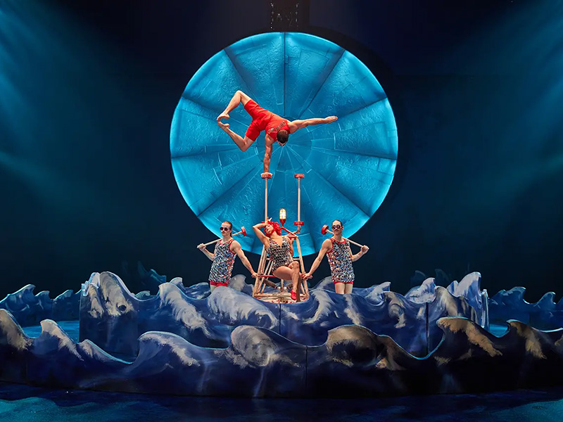 Hand balancing on canes act from the show Luzia
