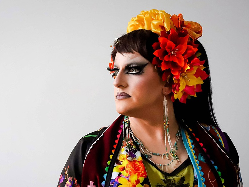 A beautiful Indigenous drag performer, Prairie Sky