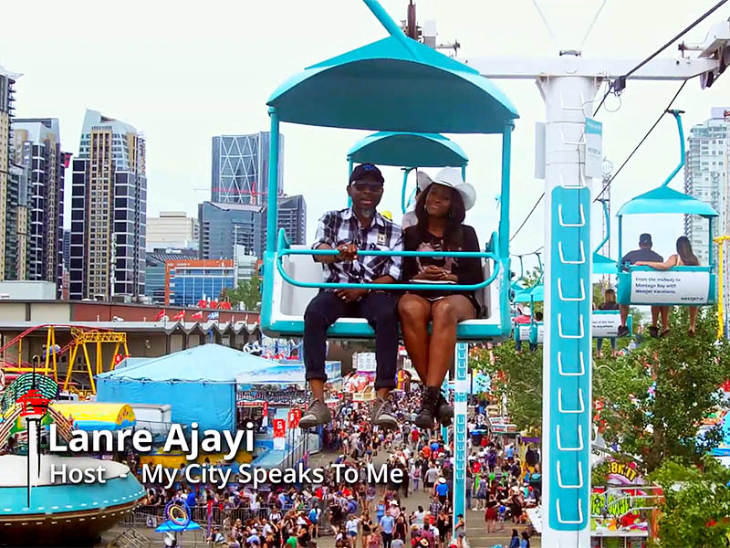 Lanre Ajayi and Bukki Wonda on the Westjet Skyride