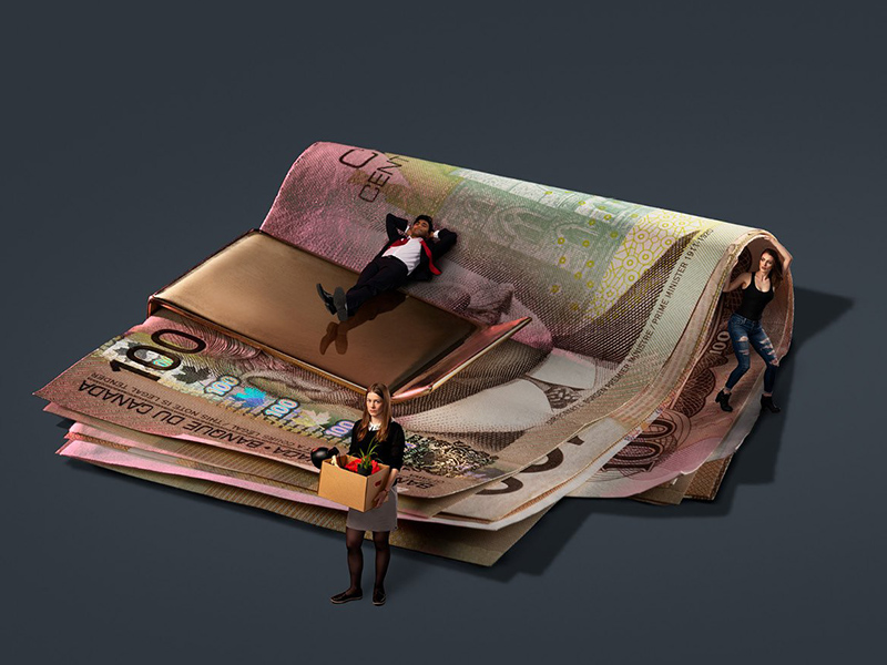 A photo illustration of people standing on a roll of 0 bills