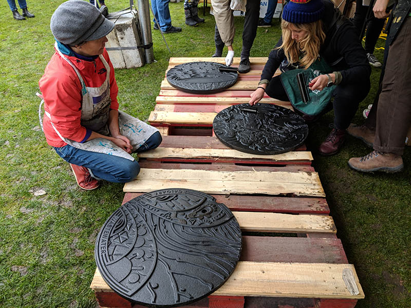 Manhole cover relief printing