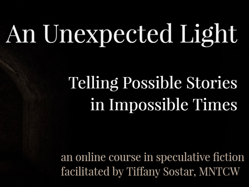 "A graphic that says ""An Unexpected Light, Telling Possible Stories in Impossible Times"""