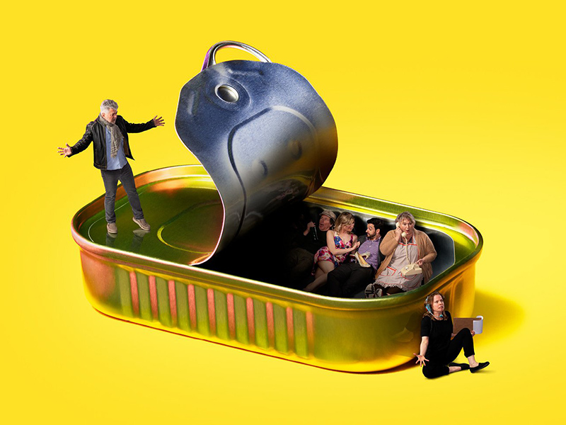 A graphic of actors in a sardine can, promoting Noises Off at Theatre Calgary