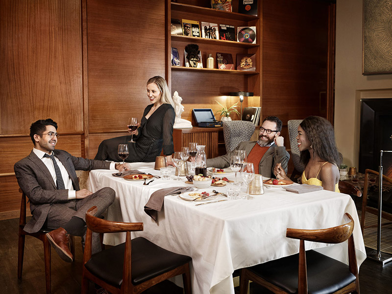 Kaleem Khan, Charlie Gould, Brendan Hunter, and Kimberley Jev model in a promotional image