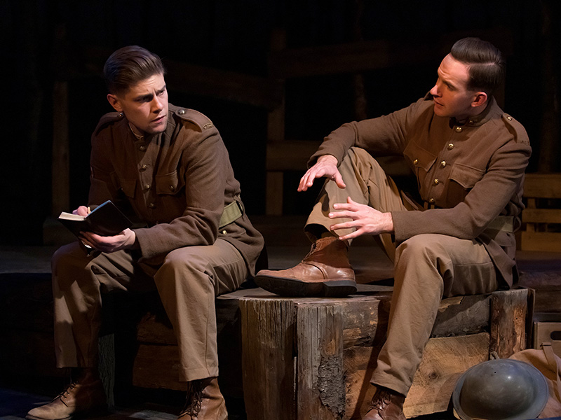 Eric Wigston and Nick Driscoll in In Flanders Fields. Book by Robert Gontier, Music by Nicky Phillips, Lyrics by Robert Gontier and Nicky Phillips. Photo by Benjamin Laird.