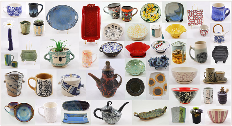 A collage of pieces at the Mount Pleasant Potters' Guild Fall Pottery Market