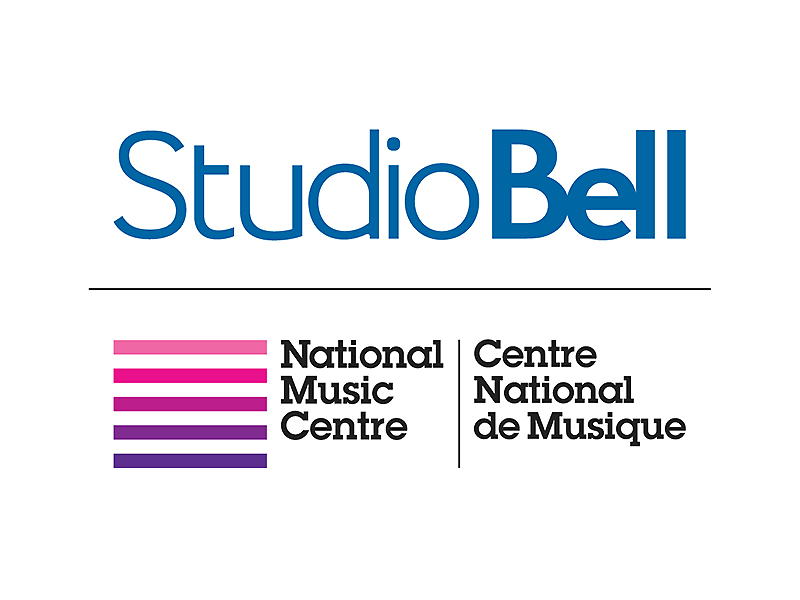 National Music Centre logo wth the Studio Bell logo above it