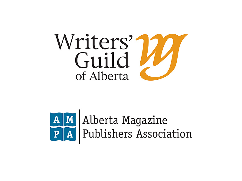 Logos for the Writers Guild of Alberta & Alberta Magazine Publishers Association