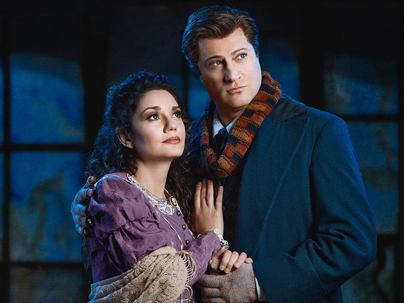 Miriam Khalil and Antoine Bélanger in costume for Calgary Opera's production of La Bohème