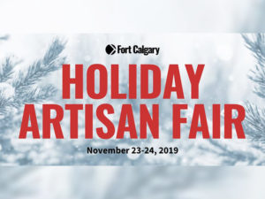 A graphic for the Fort Calgary's Holiday Artisan Fair