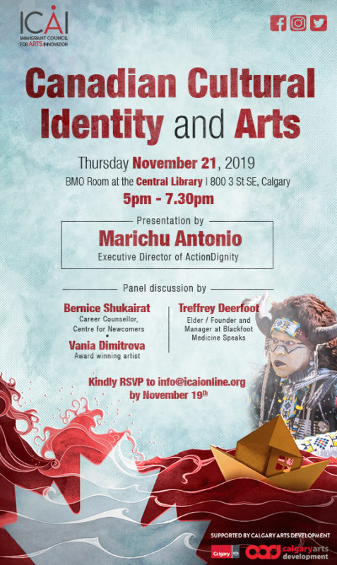 November 21, 2019, BMO Room at the Central Library | 800 3 St SE, Calgary – 5:00 – 7:30pm – Presentation by Marichu Antonio (Executive Director of ActionDignity)