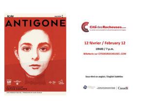 A poster for Antigone at La Cité des Rocheuses