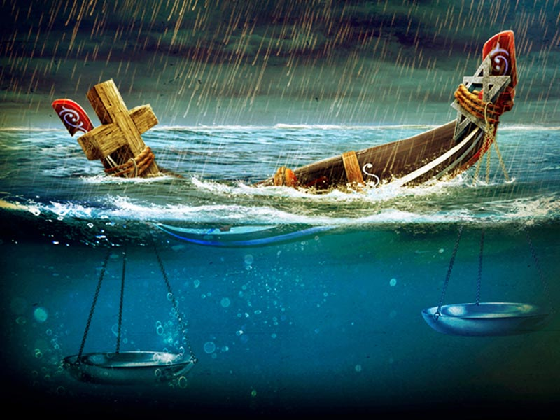 A graphic of a boat in stormy waters