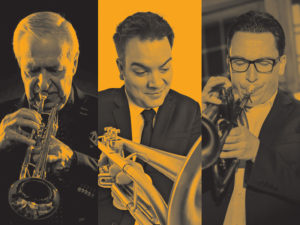 A graphic for Trumpet Titans with Al Muirhead, Johnny Summers, and André Wickenheiser