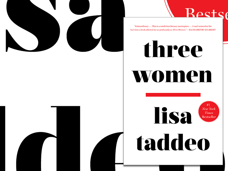 A graphic promoting Wordfest's next book club featuring Lisa Taddeo's Three Women