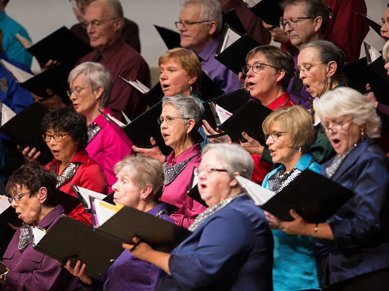 A photo of the Calgary Multicultural Choir on stage
