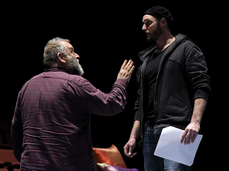 Dean Paul Gibson and David Haysom working through a scene on stage at the University of Calgary