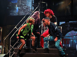 Alysse Ernewein, Keri Kelly, Brian Christensen and Trevor Coll in We Will Rock You, captured by Randy Feere
